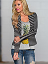 Women\'s Striped Blazer , Casual / Print Waist line Long Sleeve
