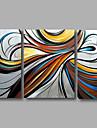 redo att hänga handmålade oljemålning på duk vägg konst modern gråblå Home Deco abstrakt tre paneler