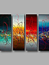 Ready to Hang Hand-Painted Oil Painting on Canvas Wall Art Modern Blue Turquoise Red Home Deco Abstract Three Panels