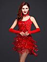 Latin Dance Dresses Women\'s Performance / Training Milk Fiber Tassel(s) 1 Piece Fuchsia / Gold / Red
