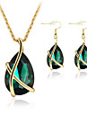 Set bijuterii Cristal imitare Emerald Cristal Placat Cu Aur Roz Lacrimă Alb Verde Albastru Petrecere 1set Coliere ΣκουλαρίκιαCadouri de