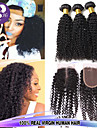 3st lot brasilianskt jungfruligt hår # 1b kinky lockigt hår med 1pcs spets stängning människohår lockigt förlängningar