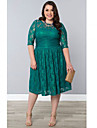 Women\'s Party/Cocktail Vintage Plus Size Dress Round Neck Knee-length ½ Length Sleeve Green Spandex Fall
