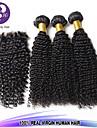 3st lot brasilianskt jungfruligt hår # 1b kinky lockigt hår med 1st spets stängning människohår lockigt vinkar djupt