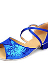 Chaussures de danse ( Bleu / Rouge / Argent / Or ) - Non Personnalisables - Talon Bottier - Satin / Similicuir / Paillette - Latine