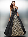 Formal Evening Dress - Multi-color A-line Strapless Ankle-length Lace / Satin