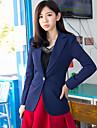 여성의 솔리드 카울 넥 긴 소매 블레이져 블루 / 레드 / 블랙 / 옐로 면 사계절 중간