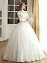 Ball Gown Wedding Dress Floor-length Off-the-shoulder Satin / Tulle with Beading / Sequin / Appliques
