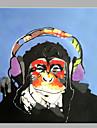 enda modern abstrakt ren handen rita dekorativa oljemålning redo att hänga orangutanger lyssna på musik