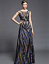 Formal Evening Dress - Multi-color Sheath/Column V-neck Floor-length Charmeuse / Sequined