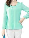 Women\'s Plus Size White/Black/Green Round Neck Blouse, Chiffon Long Sleeve