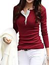Vrouwen Eenvoudig / Street chic Lente / Herfst / Winter T-shirt,Casual/Dagelijks Effen Ronde hals Lange mouwRoze / Rood / Zwart / Groen /