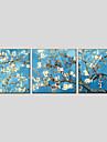 HANDMÅLAD Blommig/BotaniskModerna / Europeisk Stil Tre paneler Kanvas Hang målad oljemålning For Hem-dekoration