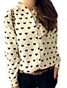 Mulheres Camisa Casual Simples Todas as Estacoes,Leopardo Branco Poliester Colarinho de Camisa Manga Longa Fina