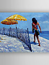 Oil Painting Seaside Landscape by Knife Hand Painted Canvas with Stretched Framed Ready to Hang