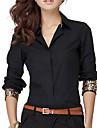 solide chemise blanche / noire, travaux col V a manches longues Leopard brassard des femmes