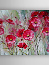 oljemålning röda blommor handmålade duk med sträckt inramade