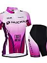 NUCKILY® Maillot et Cuissard de Cyclisme Femme Unisexe Manches courtes VeloEtanche Respirable Resistant aux ultraviolets Zip etanche Zip
