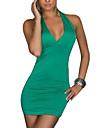 De las mujeres Tallas Grandes Vestido Sexy / Fiesta Un Color Mini Halter Algodon / Licra