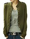 casaco azul / preto / verde, manga longa das mulheres