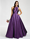 Lanting Bride® Floor-length Taffeta Bridesmaid Dress A-line Jewel with Sash / Ribbon