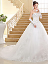 Ball Gown Wedding Dress Chapel Train Sweetheart Lace / Tulle with Appliques / Bow / Sequin / Beading