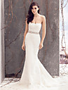 Lanting Bride® Trumpet / Mermaid Wedding Dress Court Train Strapless Lace with Lace