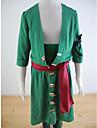Inspire par One Piece Roronoa Zoro Anime Costumes de cosplay Costumes Cosplay Couleur Pleine VertManteau / Pantalons / Brassard /