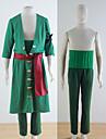Inspirerad av One Piece Roronoa Zoro Animé Cosplay-kostymer cosplay Suits Enfärgat Grön Kappa Byxor Armbindel Midje accessoar Bälte För