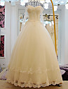 A-line Wedding Dress-Floor-length Off-the-shoulder Lace / Tulle