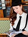 Langærmet Krave Medium Kvinders Hvid Ensfarvet Forår Simpel Casual/hverdag Skjorte,Polyester