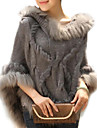 Women\s Trendy Real Genuine Raccoon Fur Cape