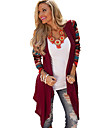 Women\'s Print Red Wrap , Asymmetrical Long Sleeve