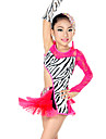 Latin Dance Outfits Children\'s Performance Spandex / Lace Tassel(s) 3 Pieces Fuchsia Latin Dance Sleeves / Dress / Headpieces
