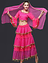 Belly Dance Outfits Women\'s Performance Chiffon Draped 3 Pieces Fuchsia / Red / Royal Blue / Yellow Belly Dance Skirt / Headpieces / Top