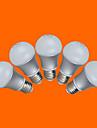 7W E26/E27 LED-globlampor G60 12 SMD 3528 500 LM Varmvit Kallvit Dekorativ AC 220-240 V 5 st