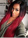 högsta kvalitet peruker tvåfärgad färg 1b / röd mittdel långt rakt hår syntetisk peruk.