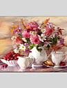 stil de flori picturi in ulei panza materiale cu rama întinsă gata să stea dimensiune 60 * 90cm