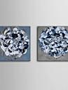flori albastre întinsă panza de artă set de 2