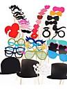 44 PCS Card Paper Photo Booth Props Party Fun Favor(Glasses & Hat & Mustache & Hat)