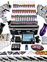 pro tatuering komplett tatuering kit 2 pro maskiner 54 bläck strömförsörjning fotpedal nålar handtag tips tk259