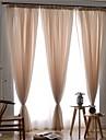 Två paneler Fönster Behandling Europeisk , Solid Sovrum Polyester Material Skira Gardiner Shades Hem-dekoration For Fönster