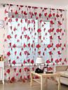 Två paneler Rustik Blommig/Botanisk Röd Living Room Polyester Sheer gardiner Shades