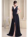 A-line V-gât pardoseală lungime sifon rochie de domnisoara de onoare cu despicat partid fata draping