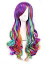 lång längd våg hår europeisk väva flerfärgade cosplay syntetisk peruk