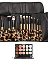 12pcs Goat/Pony/Horse hair Makeup Brushes set concealer brush shadow/brow/eyeliner/eyelash/lip brush+15 color concealer Leopard Package