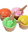 bol de creme glacee enfants de mignon avec recipient cuillere ecologique dessert, mettre la vaisselle en verre en plastique
