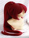 Capless röd cosplaya peruk super långa raka syntetiska peruker animerade part peruker med hästsvans