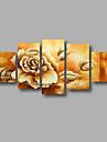 Pictat manual Abstract / Floral/BotanicModern Cinci Panouri Canava Hang-pictate pictură în ulei For Pagina de decorare