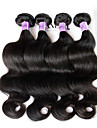 """3 st mycket 8 """"-28"""" peruanska jungfru hår vågigt naturligt svart människohår väva vågiga buntar trasselfri hårförlängningar"""